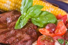 Bifteck et légumes de bison Photos stock