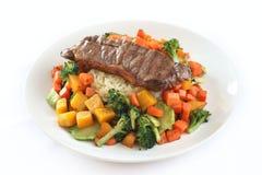 Bifteck et riz Photographie stock