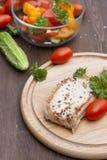 Bifteck frit de porc avec les légumes et le persil Images stock