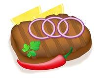 Bifteck grillé avec l'illustration de vecteur de légumes Photo stock