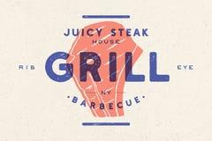 Bifteck, logo, label de viande Logo avec la silhouette de bifteck, bifteck juteux des textes illustration libre de droits