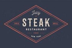 Bifteck, logo, label de viande Logo avec le restaurant de bifteck des textes, bifteck juteux illustration de vecteur