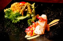 Bifteck saumoné avec de la salade Images libres de droits
