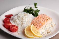 Bifteck saumoné avec du riz Image libre de droits