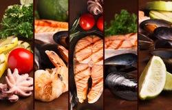 Bifteck saumoné et fruits de mer grillés Photo libre de droits