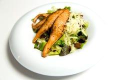 Bifteck saumoné grillé avec des herbes et des légumes image libre de droits