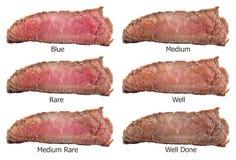 Biftecks crus faisant frire des degrés : rare rare, bleu, moyen, moyen, medi Image stock