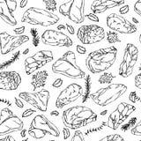 Biftecks de boeuf et coupes de viande marquant avec des lettres le contour sans couture de fond Image libre de droits