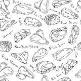 Biftecks de boeuf et coupes de viande marquant avec des lettres le contour sans couture de fond Photos libres de droits