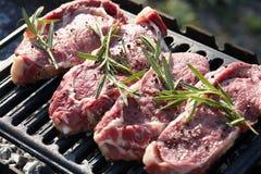 Biftecks de boeuf juteux crus faisant cuire sur le gril dehors image libre de droits