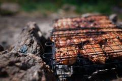 Biftecks de boeuf sur le gril avec des flammes De la belle viande sur le gril est faite frire sur le charbon de bois Jeunes adult Photographie stock