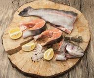 Biftecks norvégiens frais de truite arc-en-ciel avec le citron Photographie stock libre de droits
