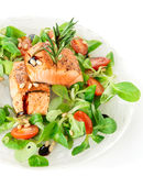 Biftecks saumonés frits rares dans la plaque Image libre de droits