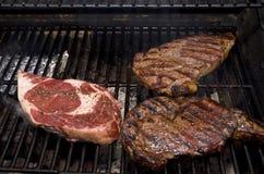 Biftecks sur le gril Images libres de droits