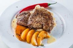 Biftek avec des poivrons Image libre de droits