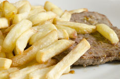 Biftek et pommes frites Photo stock