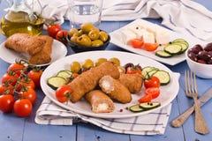 Bifteki Griekse vleesballetjes stock foto