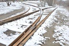 Bifurcación abandonada de la pista ferroviaria Fotografía de archivo