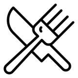 Bifurcación e icono filiforme Ejemplo del vector de los cubiertos aislado en blanco Diseño del estilo del esquema del Dishware, d libre illustration