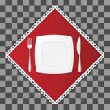 Bifurcación y cuchillo con una placa cuadrada en servilleta roja Ajuste de los cubiertos y de la tabla del plato Illustraion del  Fotografía de archivo libre de regalías
