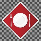 Bifurcación y cuchillo con una placa del círculo en servilleta roja Ajuste de los cubiertos y de la tabla del plato Illustraion d Imagen de archivo libre de regalías