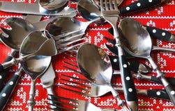 Bifurcación y cuchillo de la cuchara Foto de archivo libre de regalías