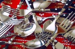 Bifurcación y cuchillo de la cuchara Fotos de archivo