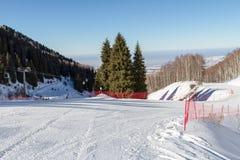 At the bifurcation of the ski slopes Stock Photography
