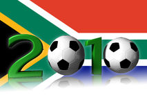 Big 2010 soccer logo with south africa flag. It's a big 2010 soccer logo with south africa flag in background royalty free stock photos
