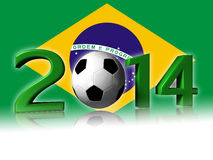 Big 2014 soccer logo with brazil flag. It's a big 2014 soccer logo with brazil flag in background royalty free stock photo
