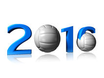Big 2016 volleyball logo. It's a big 2016 volley logo on a white background stock image