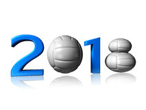 Big 2018 volleyball logo. It's a big 2018 volley logo on a white background stock photos