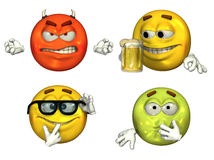 Big 3D Emoticons - set 3. 3D render of four big emoticons - set 3 Stock Image