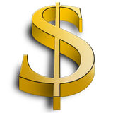 Big 3d golden dollar symbol illustration. Picture Royalty Free Stock Photo