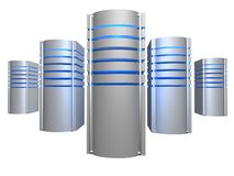 Big 3D servers farm. Over white Royalty Free Stock Photography