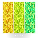 Set of bright abstract vector seamless pattern with big leaves on bright background. Big abstract colorful leaves on bright background, multicolor pattern for vector illustration