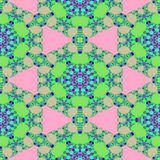 Big abstract flower in seamless kaleidoscopic pattern. Digital design usable for textile print Royalty Free Stock Image