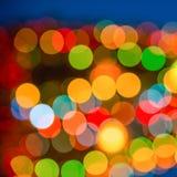 Big abstract xmas circular lights bokeh background, closeup Stock Image