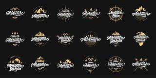 Big Adventure lettering set logos with gold illustrations. Vintage logos with mountains, bonfires and arrows. Adventure logo vector illustration