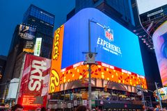 Big Advertising board in Times Square April,2018 stock photography