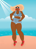 Big African Woman in Fatkini Stock Images
