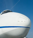Big aircraft. The impressive frontview of a big cargo jet Royalty Free Stock Photo