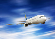 Big airplane in the sky Royalty Free Stock Image