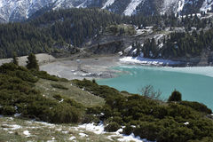 Big Almaty Lake. Located at an altitude of 2500 meters Royalty Free Stock Photos