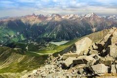 Big Almaty peak. View of Almaty mountains and Big Almaty lake. Photo was taken on july 2015 Stock Photos
