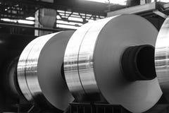 Big aluminum coils in process Stock Image