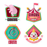 Big amazing circus show 2017 promotional emblems set. Big amazing circus show 2017 promotional emblems with pink elephant sits on hind legs, compact unicycle Stock Photography