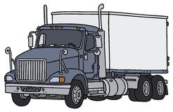 Big american truck. Big american dellivery truck, vector illustration, hand drawing Stock Illustration
