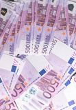 Big amount of Five hundred notes of European Union Currency. Background Royalty Free Stock Photos