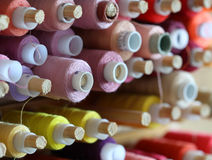 A big amount of spools with colorful threads Stock Images